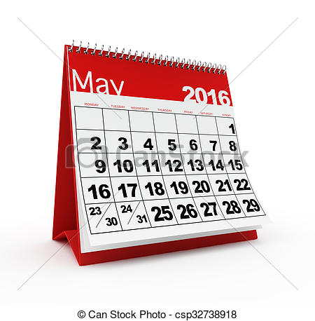 Calendar clipart 2016 year Clipart csp32738918  of May