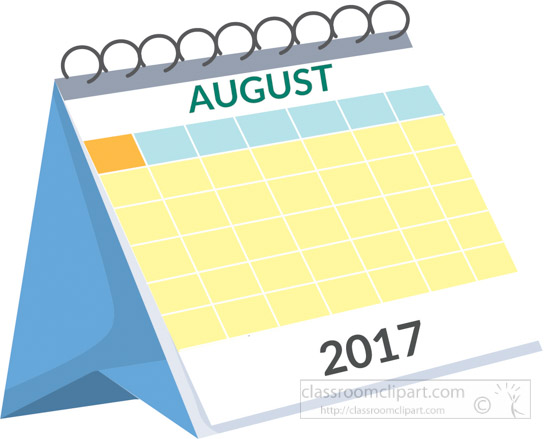 Calendar clipart aug Calendar 2017 2017 calendar clipart