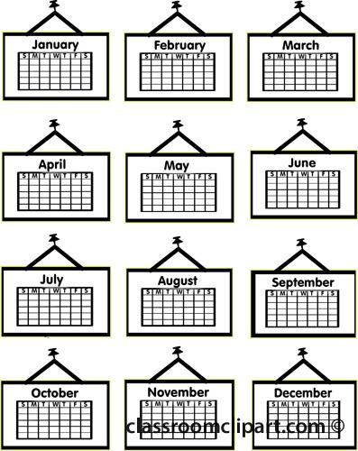 Calendar clipart calendar month Classroom : months2 12 12