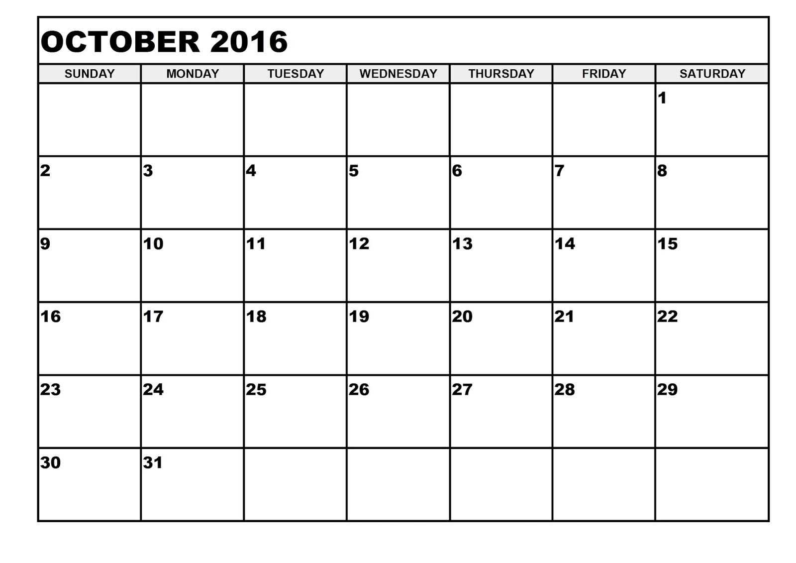 Calendar clipart calendar month Monthly 2016 Template Calendar Blank