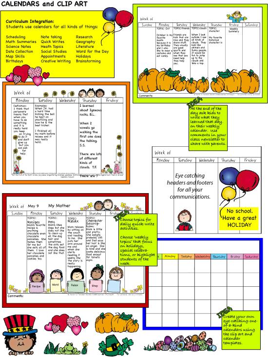 Open clipart things Downloadable Days Clip Calendar School