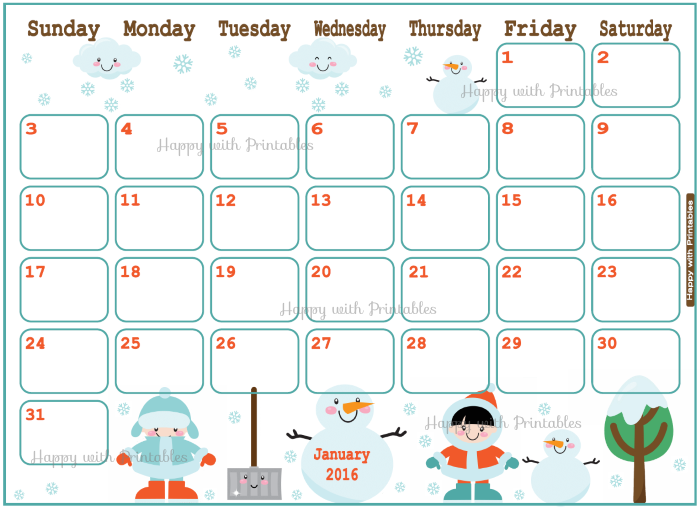 Calendar clipart january 2016 Planner HappywithPrintables: kids Planner January