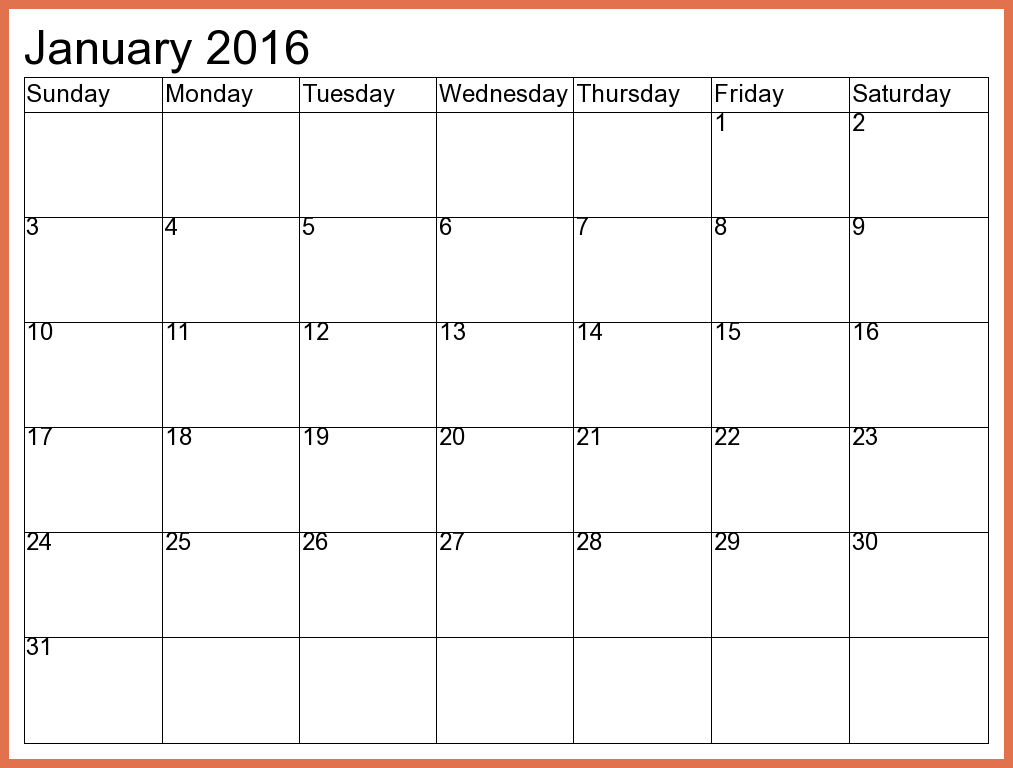 Calendar clipart january 2016 Holidays with january with january