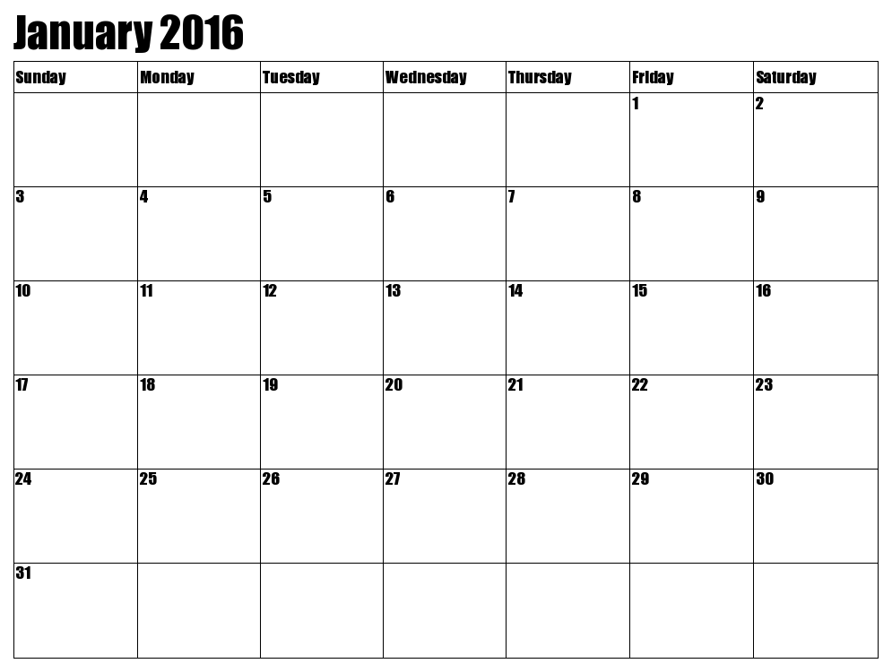 Calendar clipart january 2016 Printable clipart Calendar  January