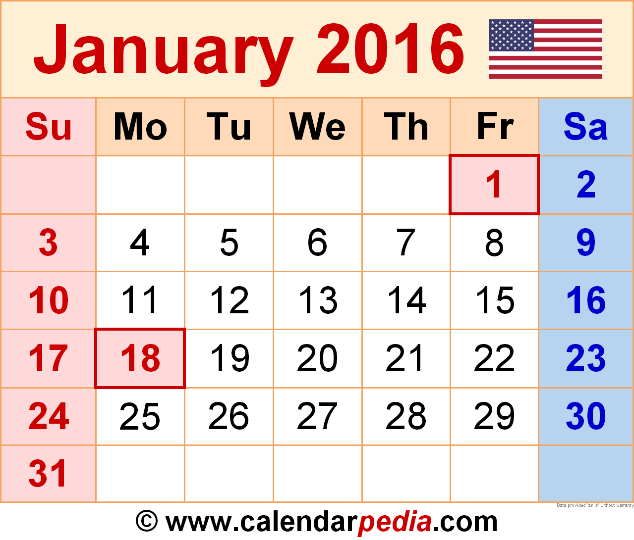 Calendar clipart january 2016 Calendar Download 2016  free