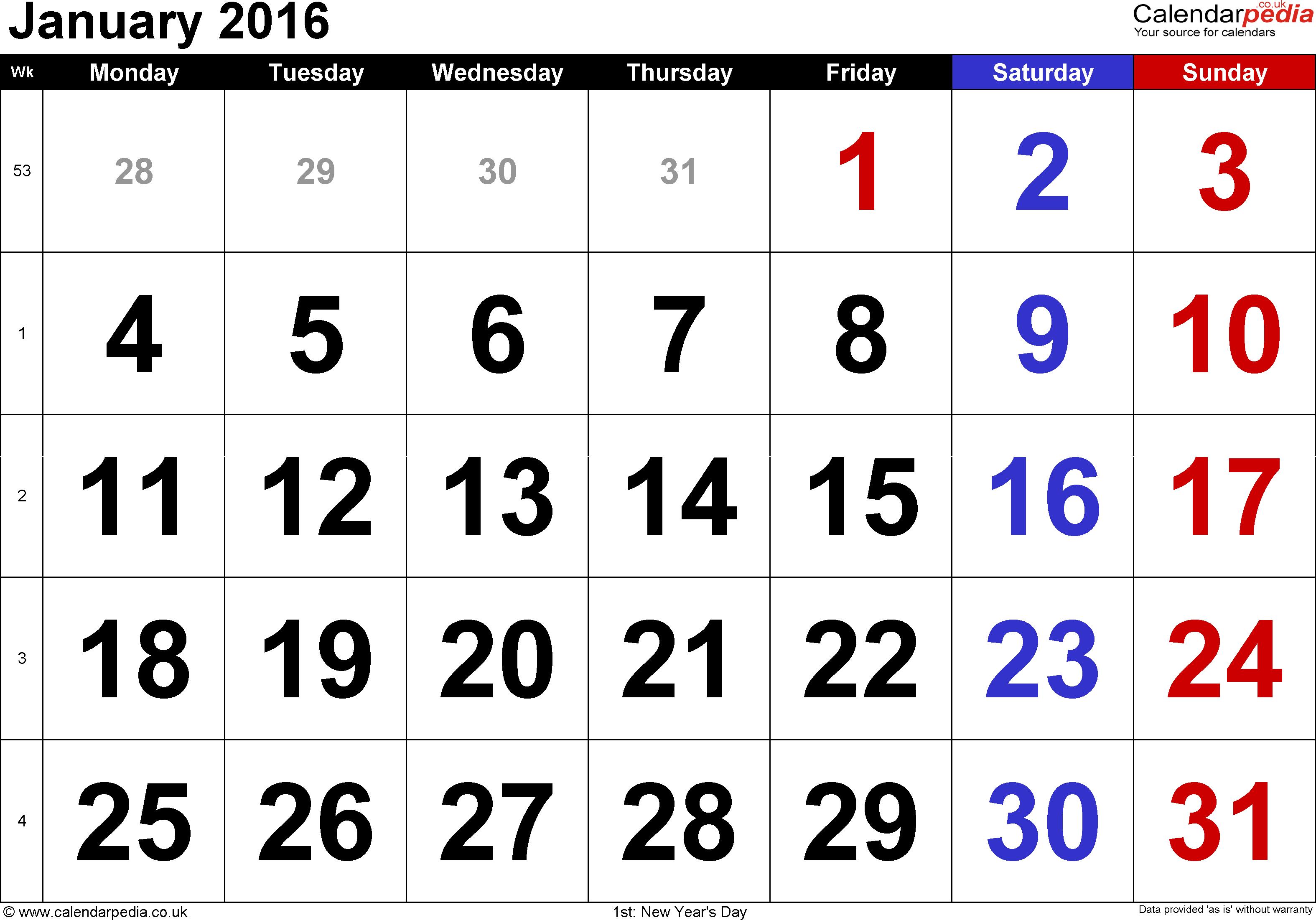 Calendar clipart january calendar Cute Clipart january 2016 clipart