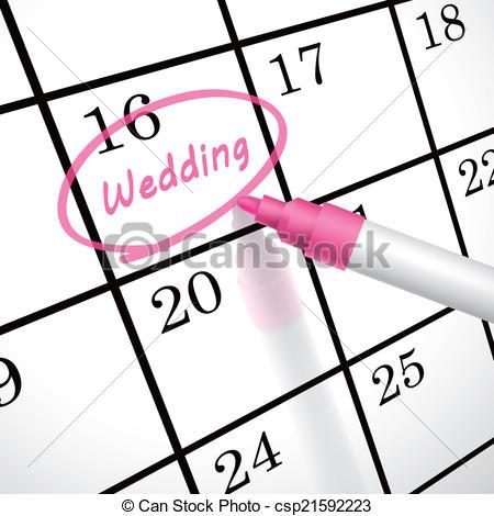 Calendar clipart pink Calendar wedding a of word