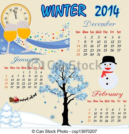 Winter clipart calendar Winter Winter calendar for 2014