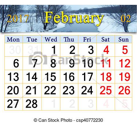 Winter clipart calendar River of January February Stock