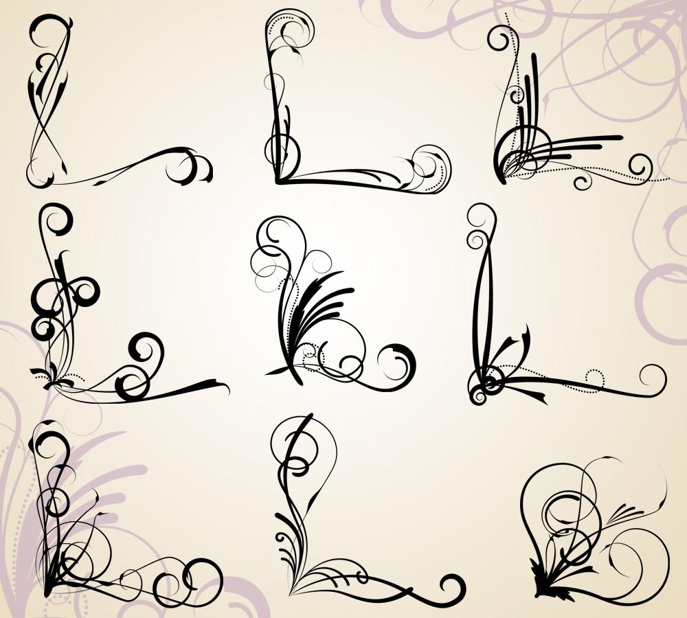Calligraphy clipart corner Corner Cliparts Zone Corner Flourish