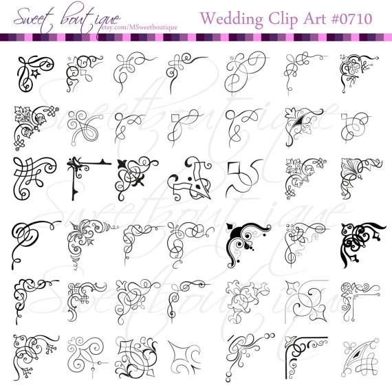 Calligraphy clipart corner Frame  Digital MSweetboutique Border