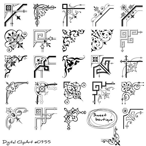 Calligraphy clipart corner Swirls Corner from Clipart corner