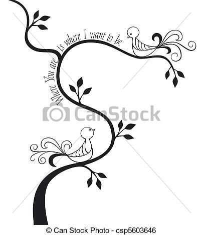 Calligraphy clipart elegant frame Illustration Love  csp5603646 birds