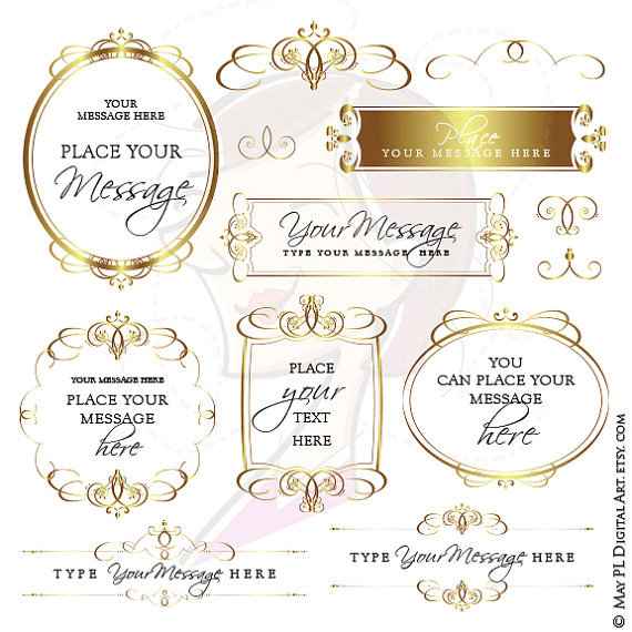 Calligraphy clipart elegant Calligraphy Label Business Commercial Gold