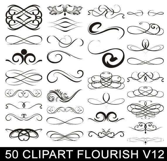 Calligraphy clipart elegant Art Elegant Clip Digital Swirls