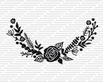 Calligraphy clipart flower silhouette Cricut decal design vector file