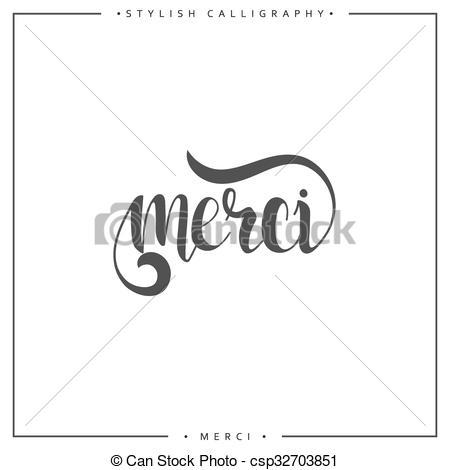 Calligraphy clipart french Stylish in Merci Merci csp32703851