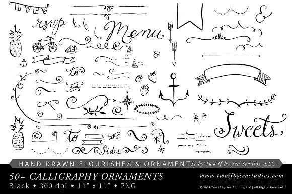 Calligraphy clipart classic border Calligraphy Hand ~ Hand Creative
