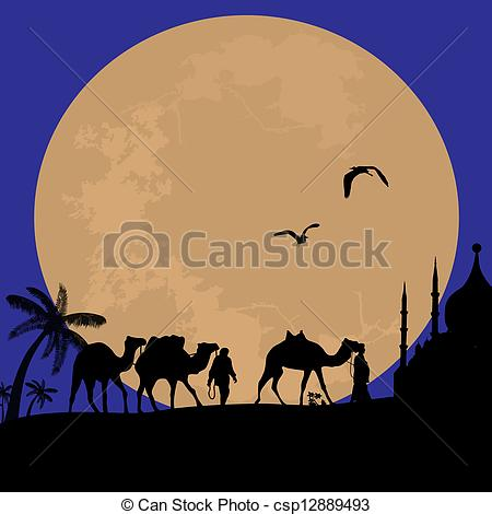 Camel Caravan clipart camel riding EPS of in landscape Bedouin