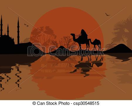 Camel Caravan clipart black and white Camel Vector csp30548515 caravan of