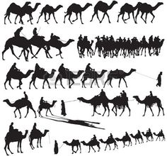 Camel Caravan clipart black and white And Free Silhouettes caravan Vector