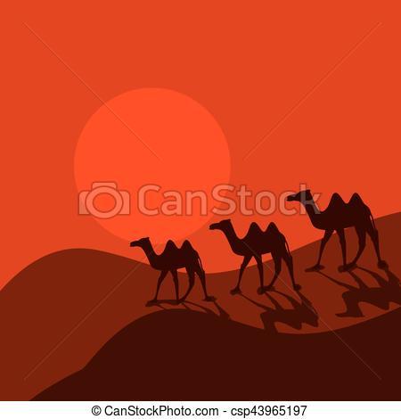 Camel Caravan clipart cartoon Desert in csp43965197 desert caravan