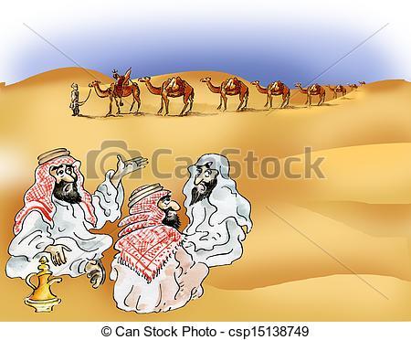 Camel Caravan clipart desert scene Desert Bedouins caravan csp15138749 in