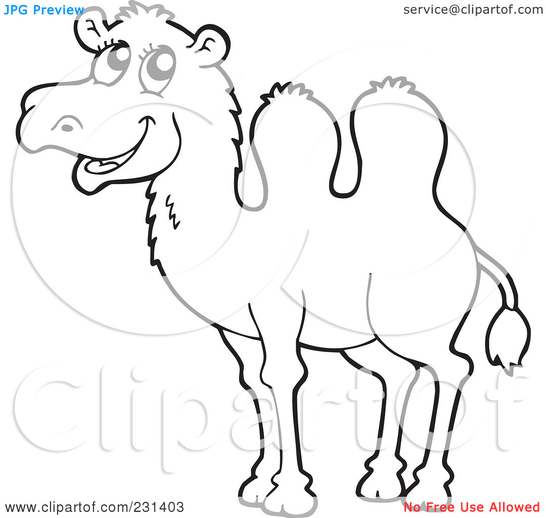 Camel clipart coloring : Camel With Clipart Outline