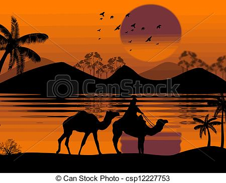 Camel Caravan clipart camel riding Clipart of in landscape Bedouin
