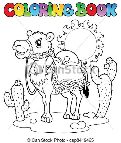 Camel clipart coloring book With book with vector Coloring