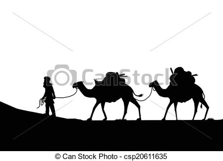Camel Caravan clipart black and white Illustration Drawings camels two camels