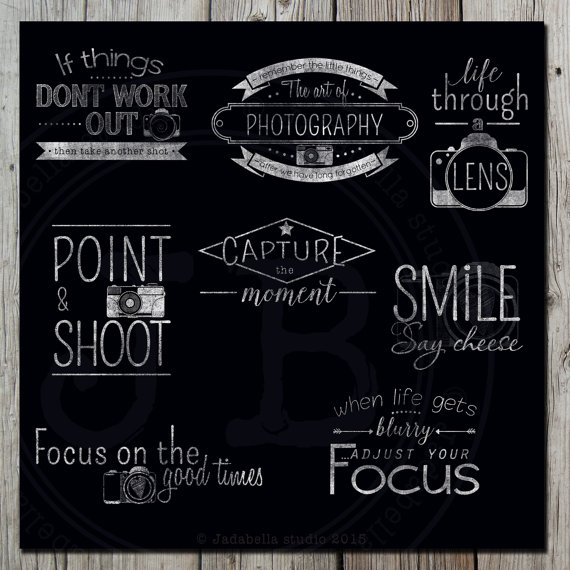 Camera clipart chalkboard Camera Photography word overlays a