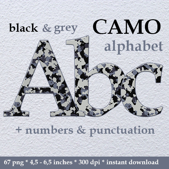 Camo clipart gray Clipart Grey and commercial letters