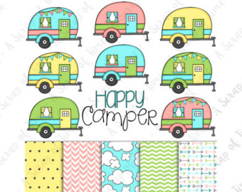Camper clipart Etsy Camper Title Drawn Paper