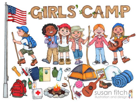 Camper clipart camping gear Girls' Girls' clip campers art