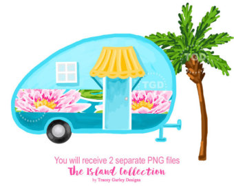 Camper clipart exploration Art Glamping Etsy tropical Preppy