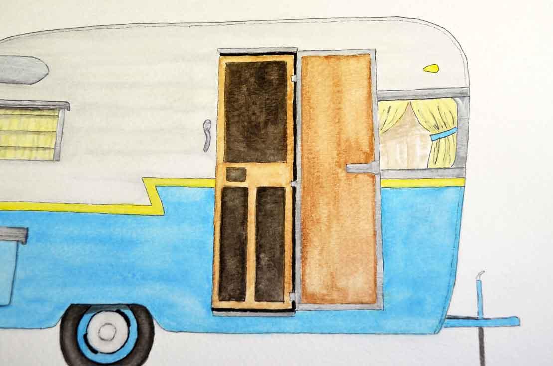 Camper clipart painted vintage Camper Vintage watercolor It Printable