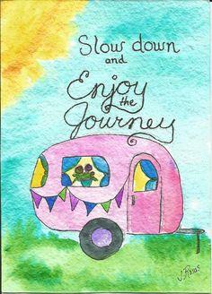 Camper clipart painted vintage Whimsical Watercolor Original Clemson Enjoy