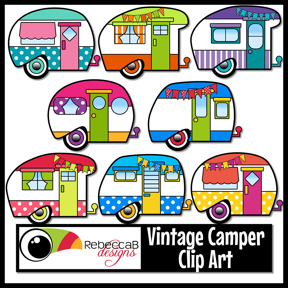 Camper clipart painted vintage Clip · art  Retro