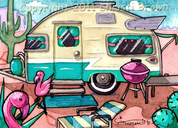 Camper clipart painted vintage Retro trailers Trailer Travel