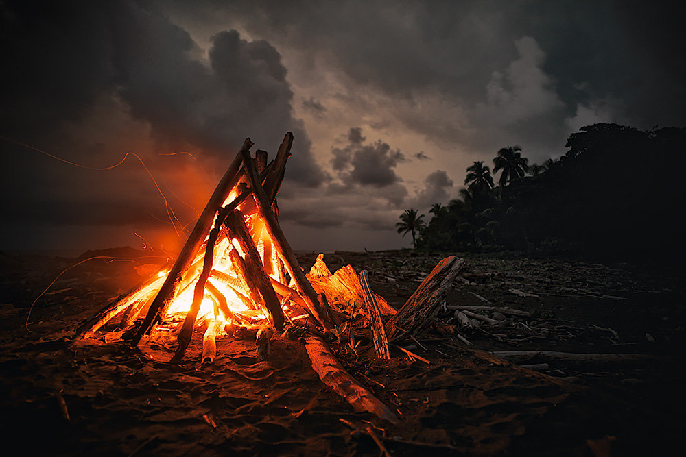 Campfire clipart beach bonfire Print Photo Beach Camping Bonfire