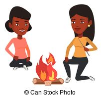Campfire clipart dance Of in friends sitting Two