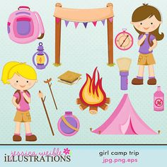 Campfire clipart cute Camping Trip Card Design outdoors