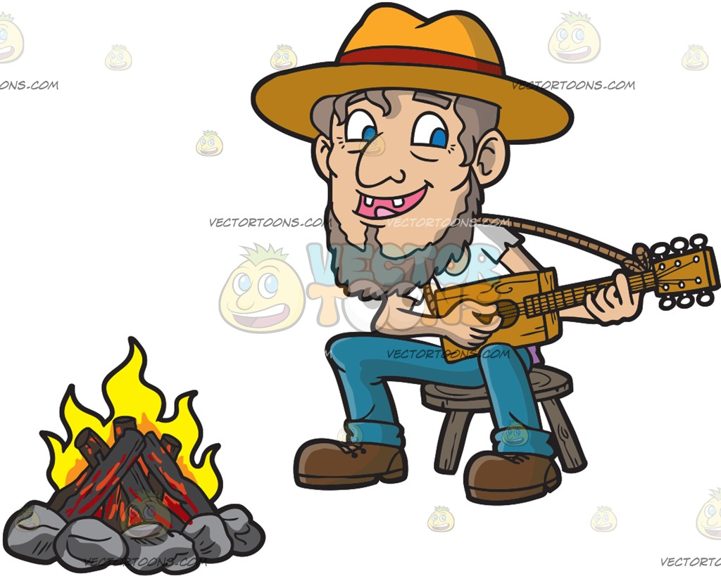 Campfire clipart guitar Guitar Of Playing Fire Of