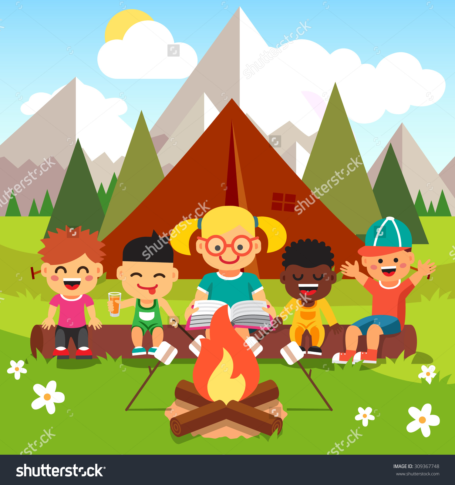 Camper clipart kid campfire Camp clipart Clipart Collection camp