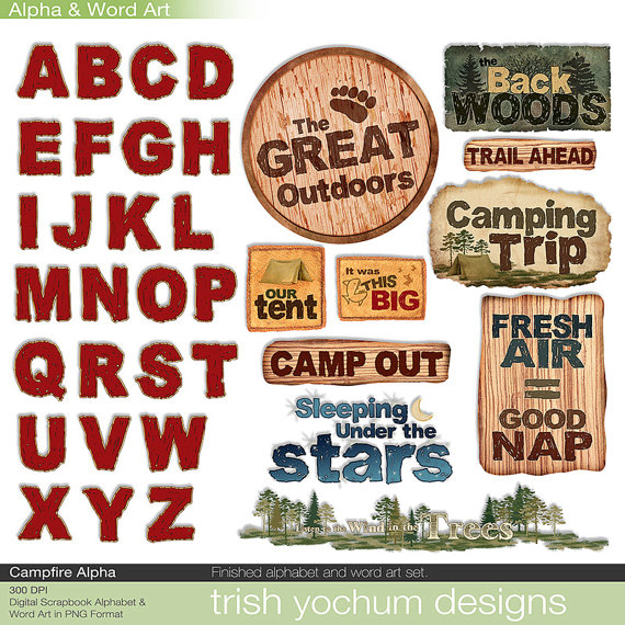 Campfire clipart printable Scrapbook Alphabet Outdoors Campfire Clipart