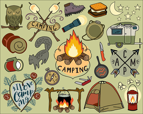 Camper clipart campfire Clipart hiking journal clip stickers