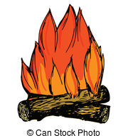 Campfire clipart vector  hand drawn Campfire Stock