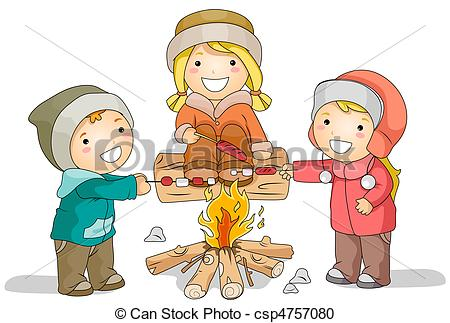 Marshmellow clipart bonfire party Stock Bonfire Stock Featuring Illustration