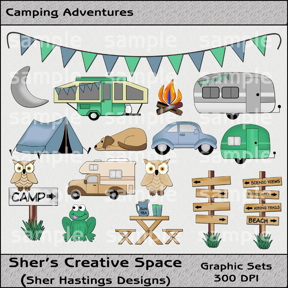 Camping clipart adventure travel Digital Set file Camping Travel